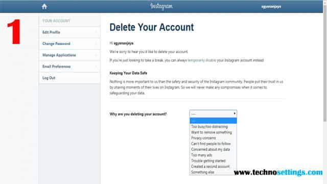 instagram account permanently delete option